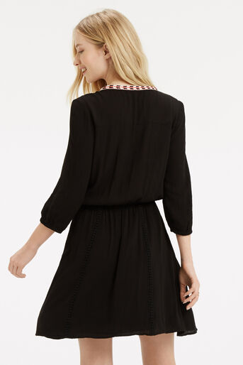 Oasis, Cheesecloth Smock Dress Black 3