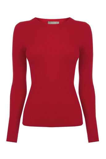 Oasis, LONG-SLEEVED RIB TOP Mid Red 0