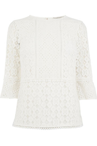 Oasis, KICK SLEEVE PATCHED LACE TOP Cream 0