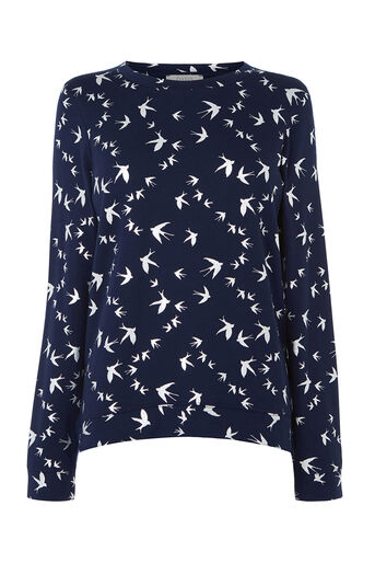 Oasis, SHIMMER SWALLOW SWEATER Navy 0