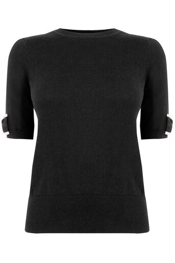Oasis, Bow sleeve knit Multi Black 0