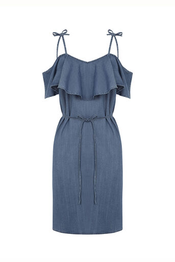 Oasis, Ruffle frill dress Denim 0