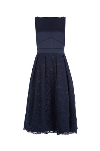 Oasis, LACE MIDI DRESS Navy 0