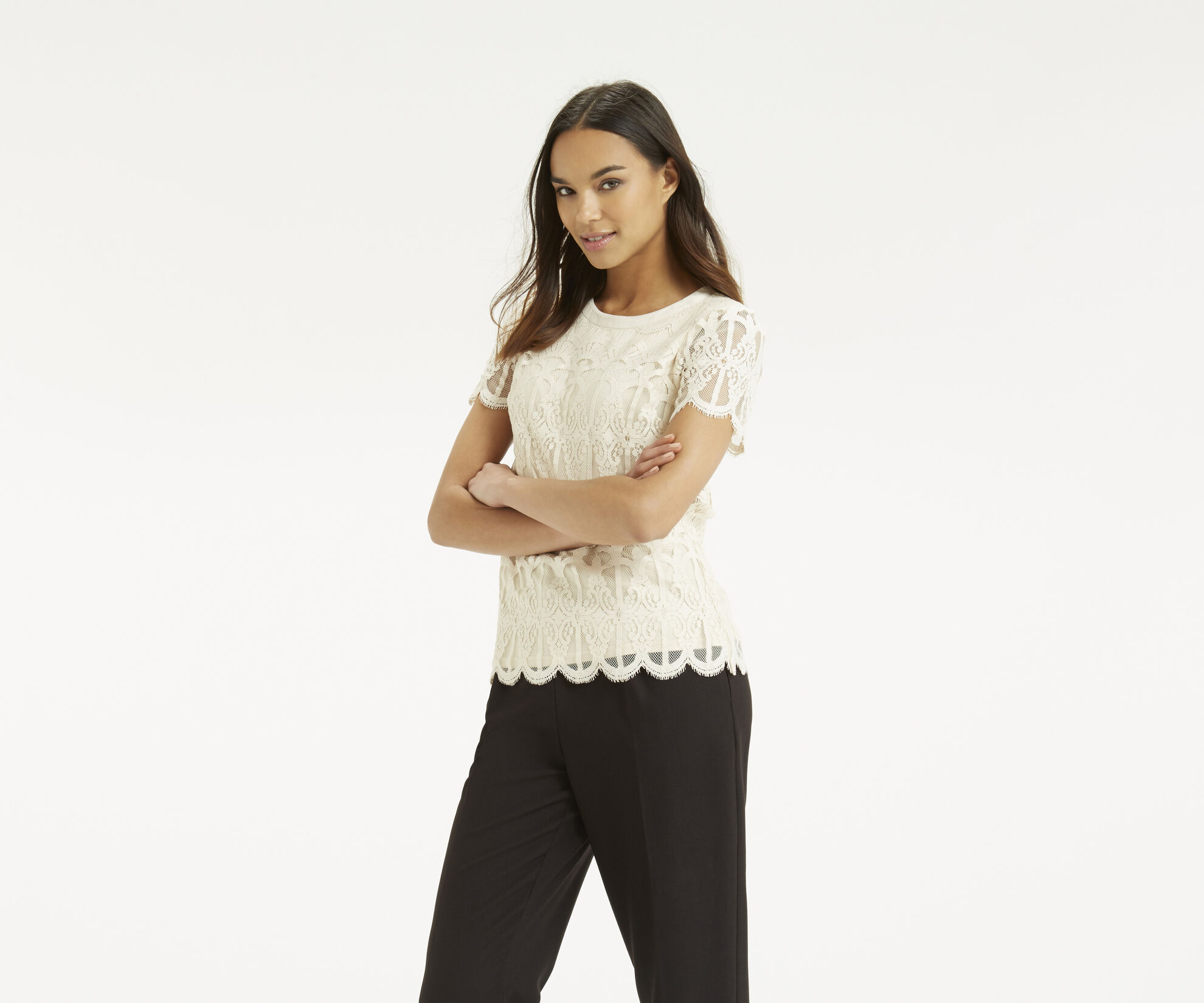 Oasis, Deco Lace Top Off White 1
