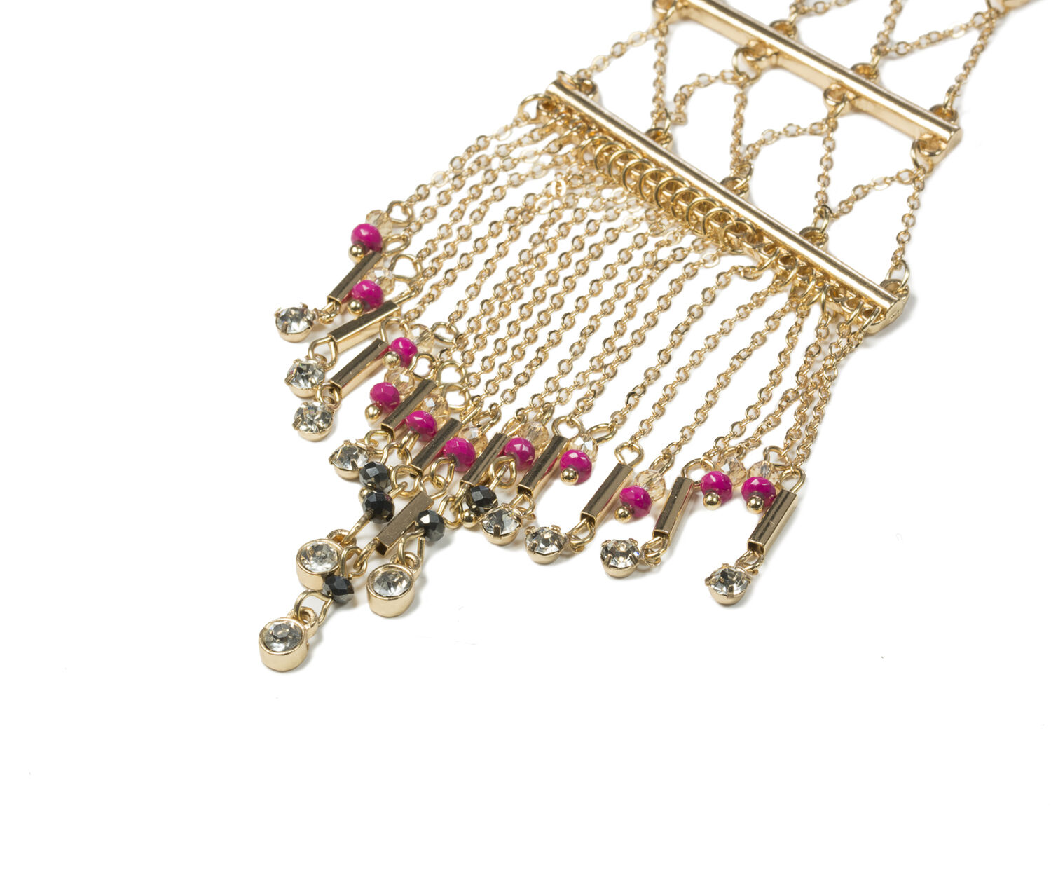 Oasis, BEADED FRINGE NECKLACE Gold 1