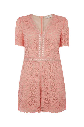 Oasis, LACE PLAYSUIT Coral 0
