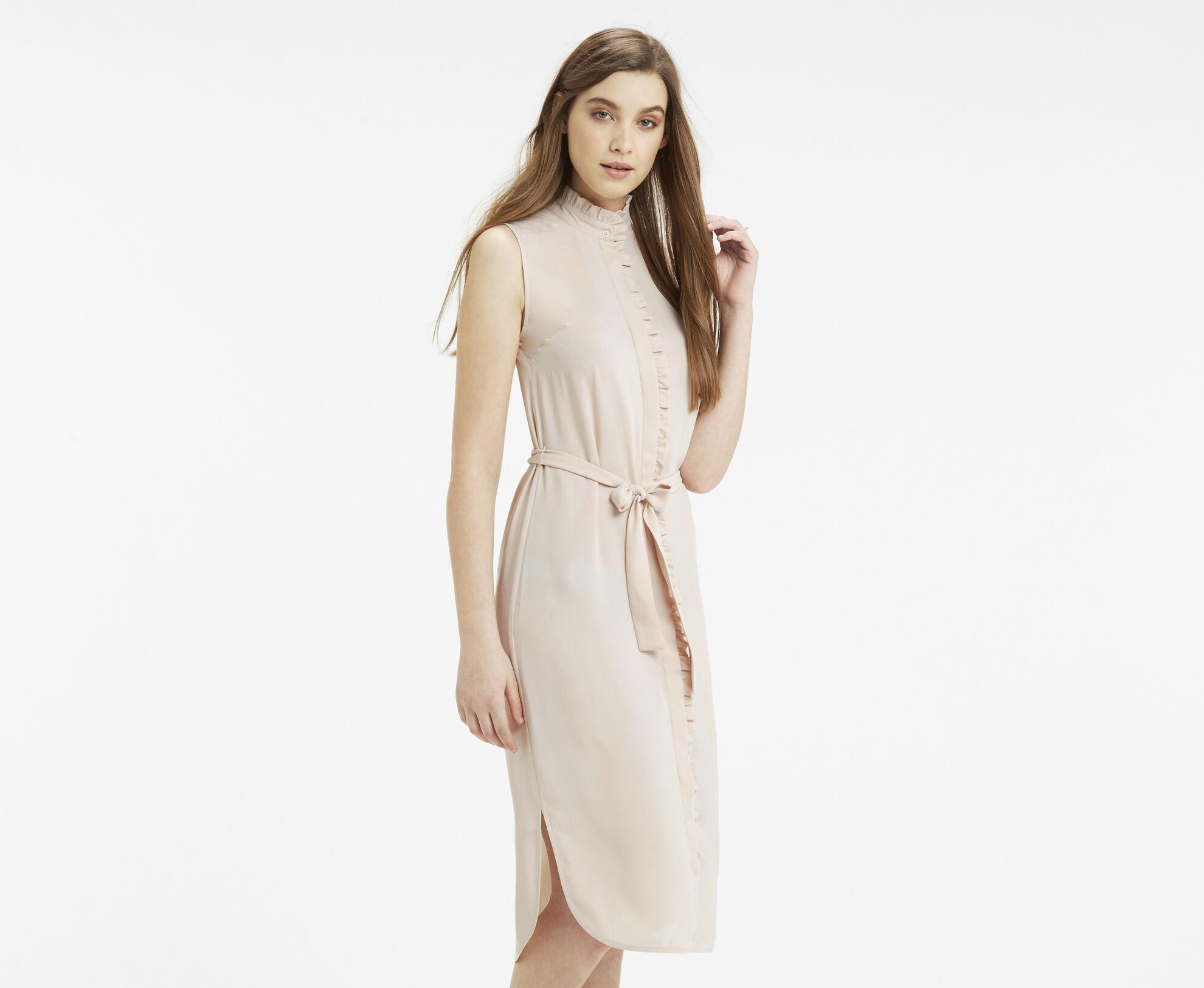 Oasis, Emerald Frill Shirt Dress Light Neutral 1