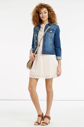 Oasis, Delicate Lace Yoke Shirt Dress Off White 2