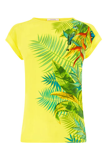 Oasis, Tropical Pleated Back Tee Multi Yellow 0