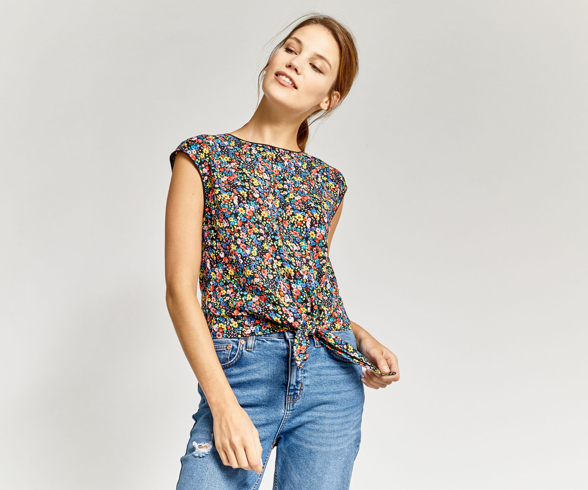 Oasis, DITSY TIE FRONT TEE Multi 1