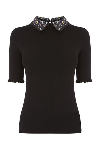 Oasis, SHIPWRECKED FRILL COLLAR KNIT Black 0