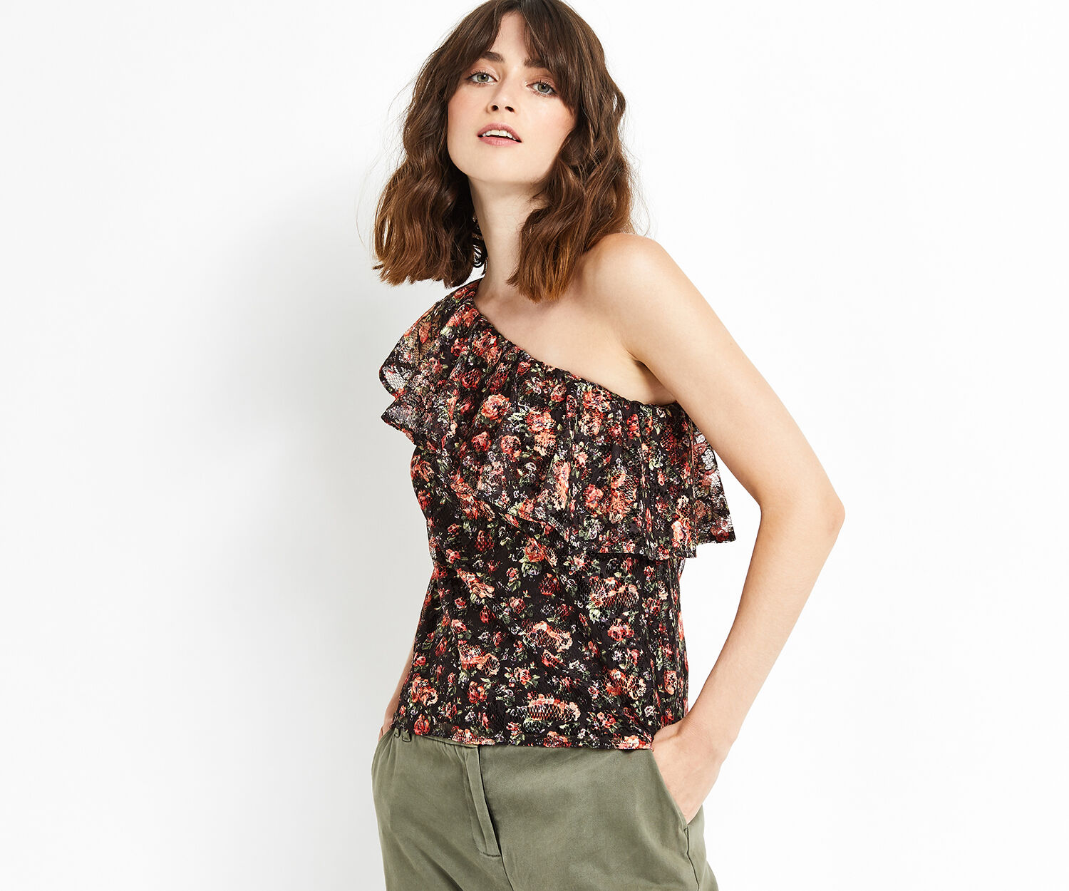 Oasis, MINI ROSE LACE ONE SHOULDER TO Black 1