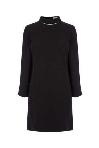 Oasis, ROLL NECK SHIFT DRESS Black 0