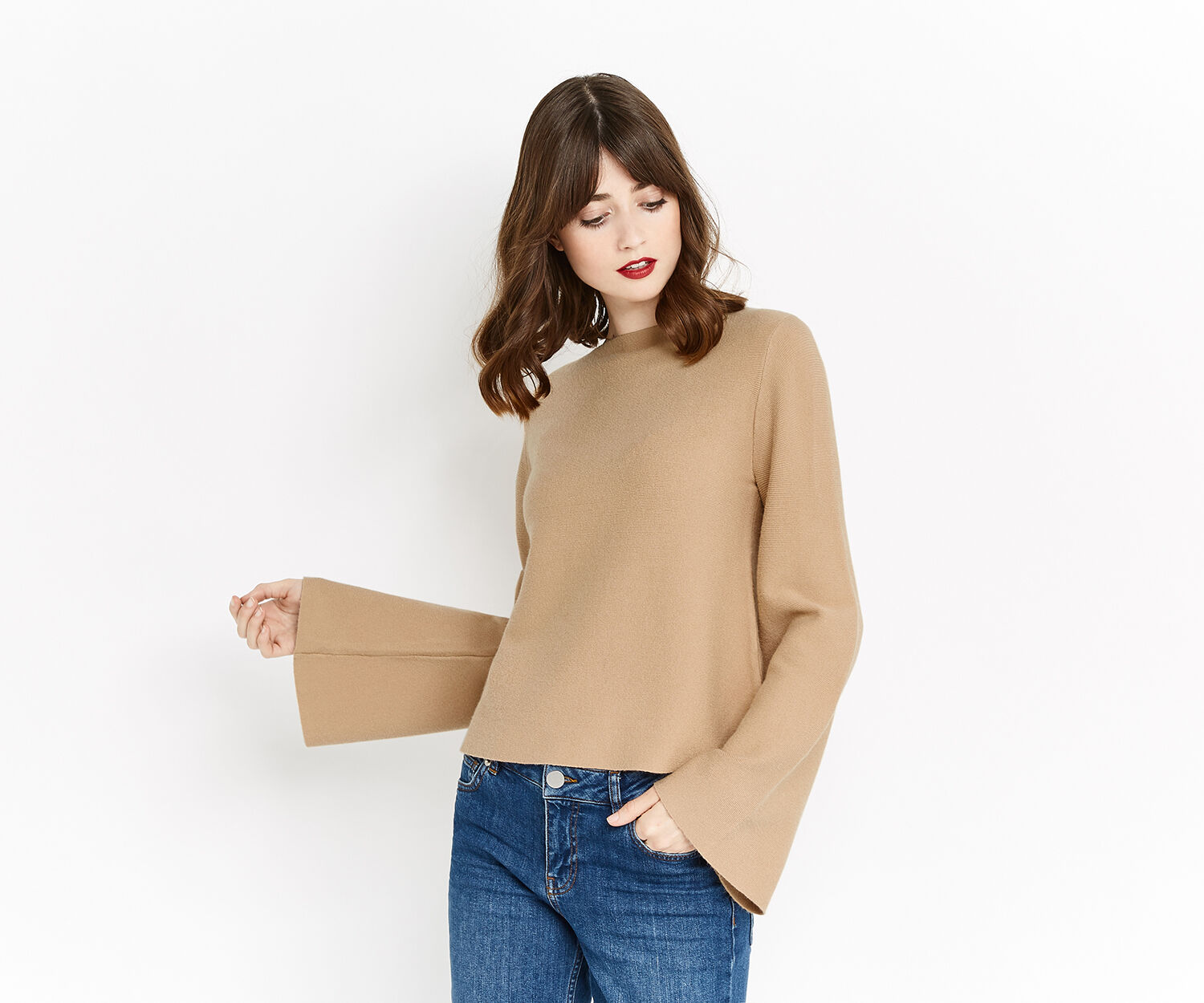 Oasis, BELL SLEEVE KNIT Camel 1