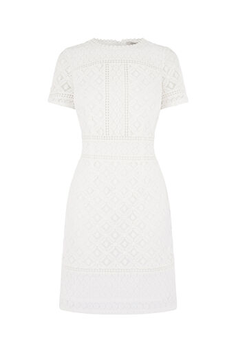 Oasis, ISLA LACE SHIFT DRESS Cream 0
