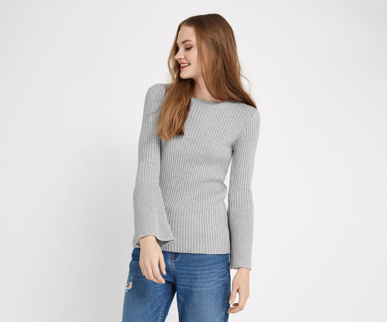 Oasis, Bell Sleeve Knit Mid Grey 1