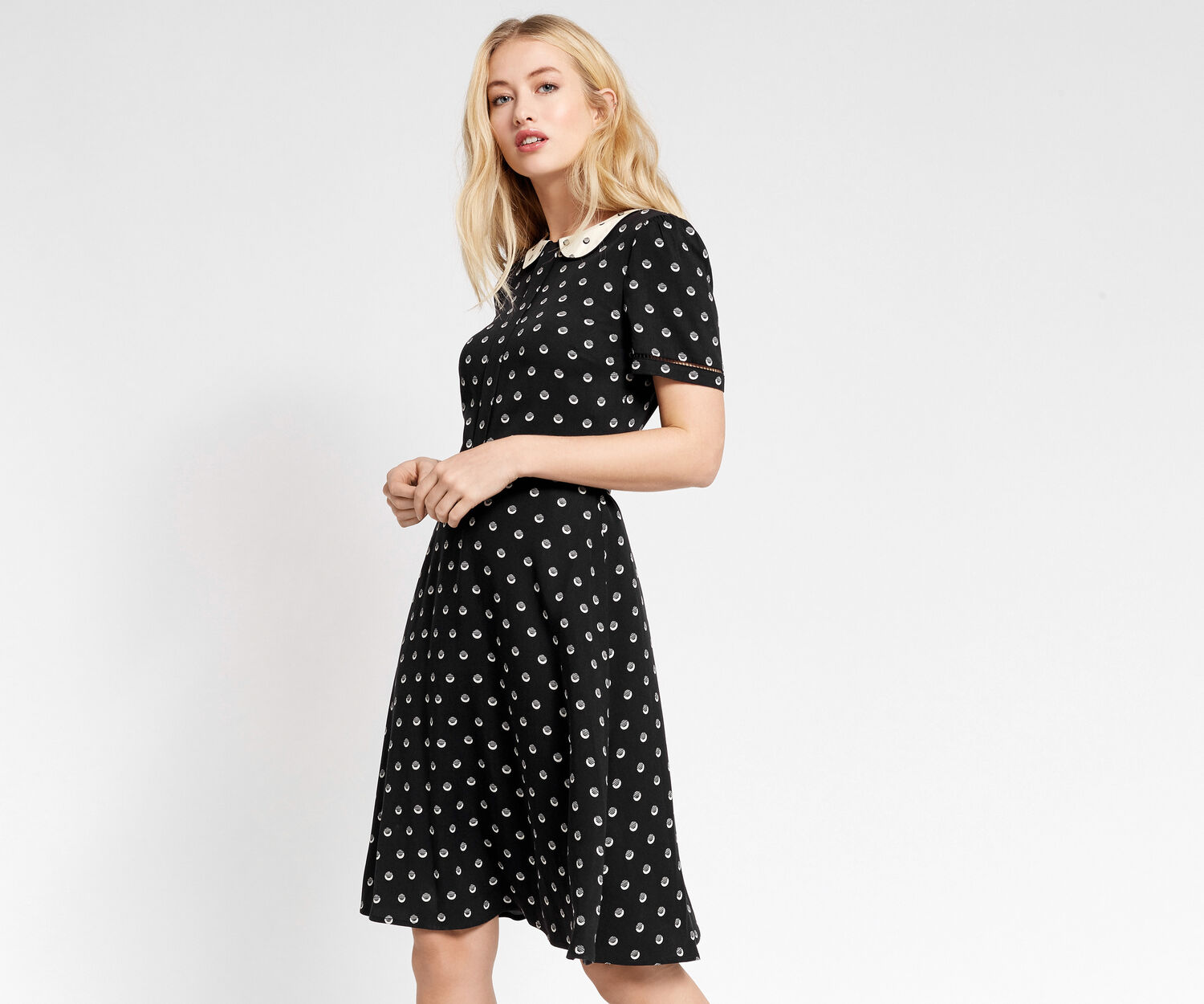 Oasis, LONG SPOTTED TEA DRESS Multi Black 1