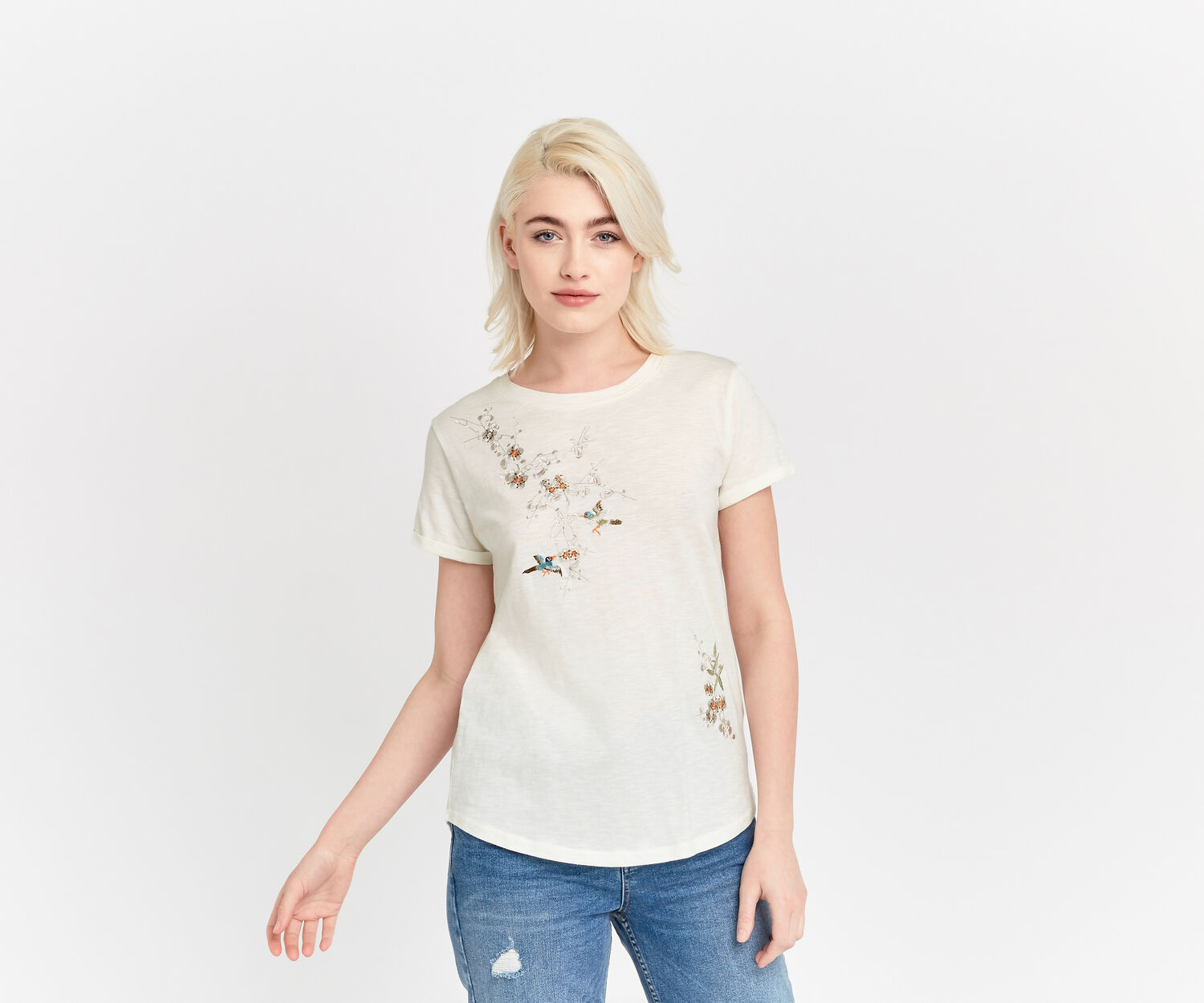 Oasis, Spring embroidered tee Off White 1