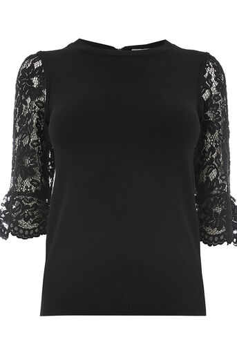 Oasis, Lace fluted sleeve Black 0