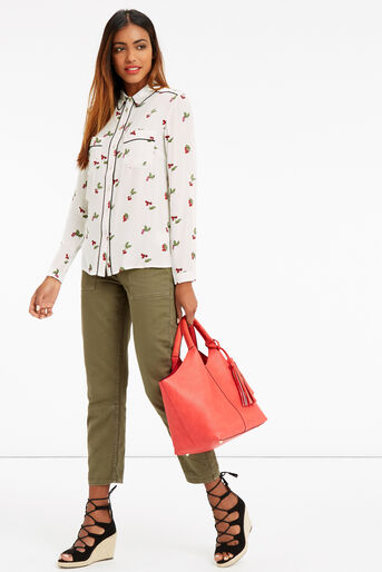 Oasis, CHERRY PIPED SHIRT Multi Natural 2