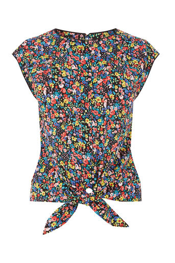 Oasis, DITSY TIE FRONT TEE Multi 0
