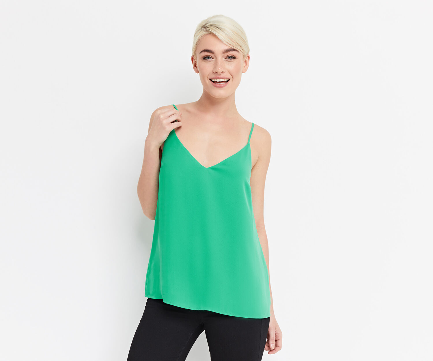 Oasis, V NECK CAMI Mid Green 1