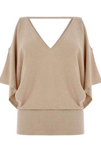 Oasis, Sparkle cold shoulder knit Gold 0