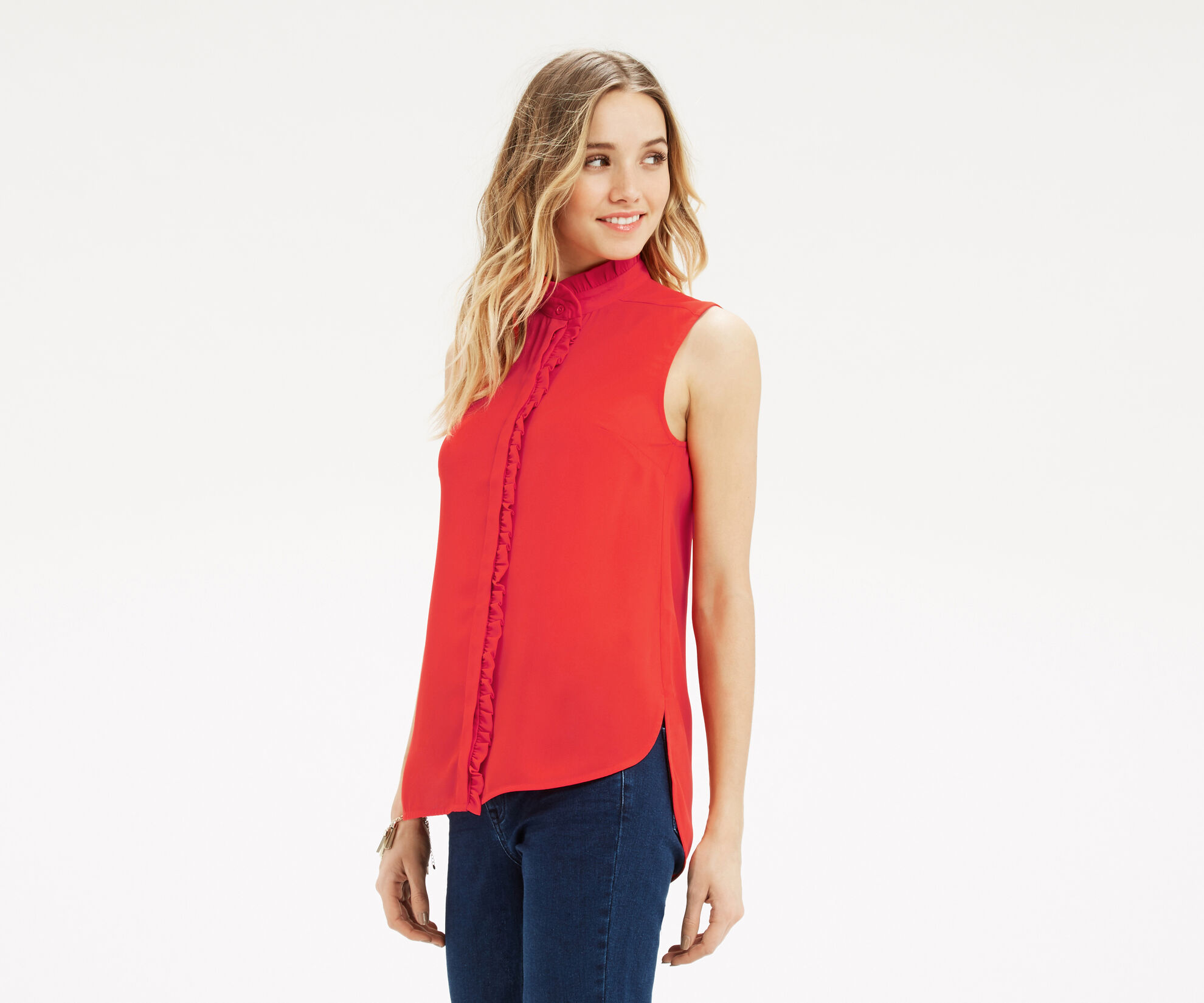Oasis, Emerald Frill Shirt Mid Red 1