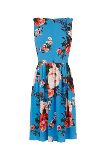 Oasis, ROSE SKATER DRESS Mid Blue 0