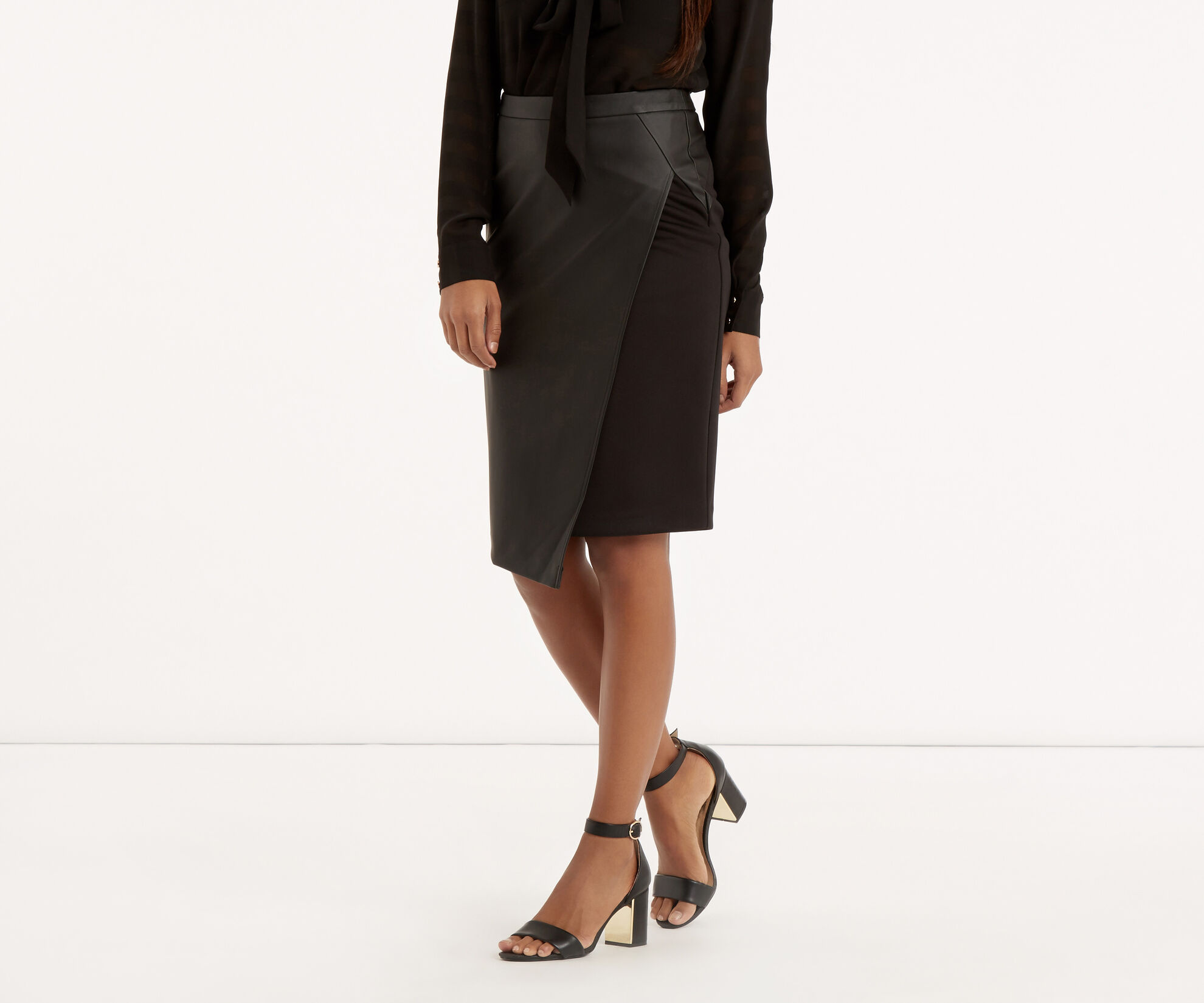 Oasis, Faux Leather Wrap Skirt Black 1