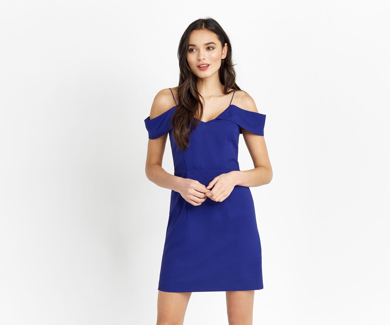Oasis, BARDOT COLD SHOULDER DRESS Cobalt Blue 1