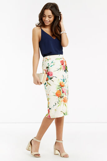 Oasis, Floral Pencil Skirt Multi Natural 2