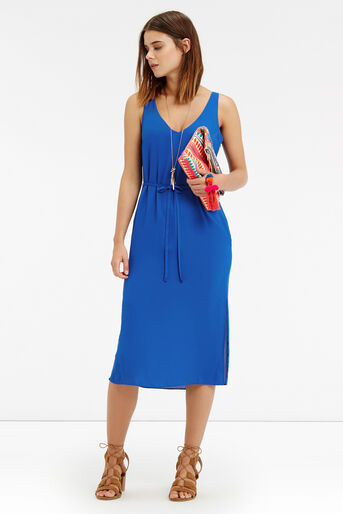Oasis, V Front And Back Midi Dress Mid Blue 2