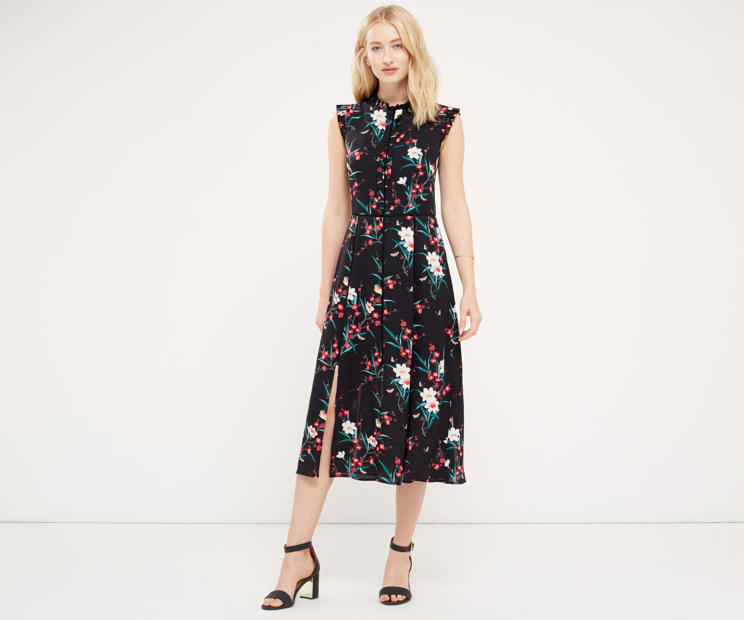 Oasis, FAR EASTERN MIDI DRESS Multi Black 1