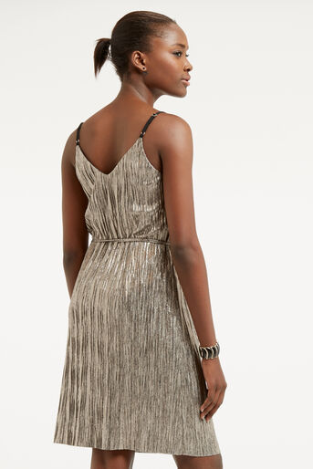 Oasis, METALLIC SLIP DRESS Gold 3