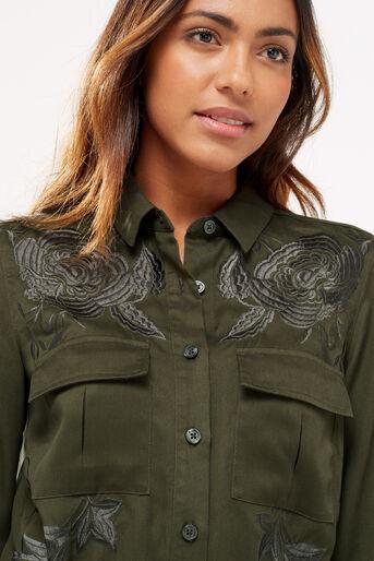 Oasis, Blossom emb utility dress Khaki 4