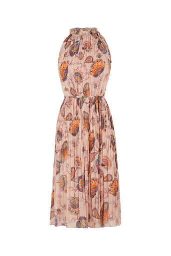 Oasis, Goddess Tie Neck Dress Multi Natural 0