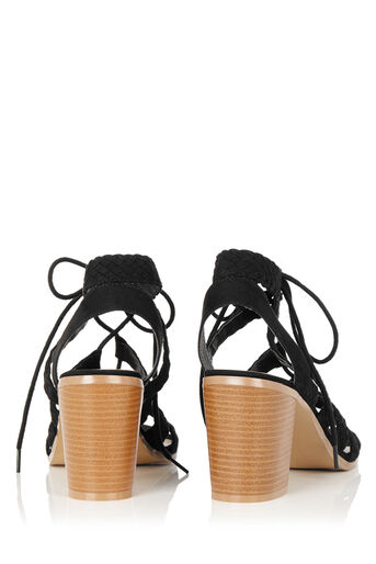 Oasis, Pippa Plaited Block Heel Black 2