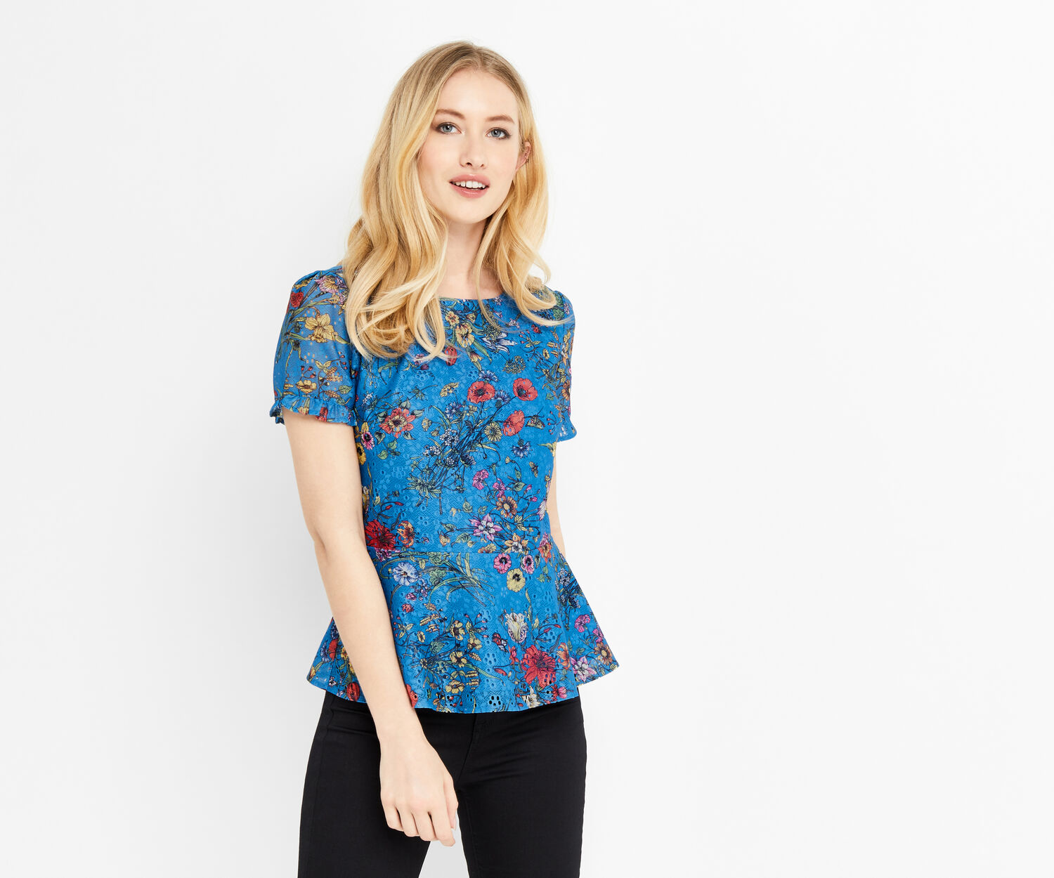 Oasis, AZELIA PEPLUM TOP Multi Blue 1
