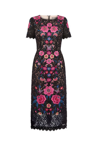 Oasis, EMBROIDERED LACE DRESS Multi Black 0