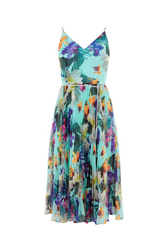 Oasis, TROPICAL PLEAT MIDI DRESS Multi Green 0