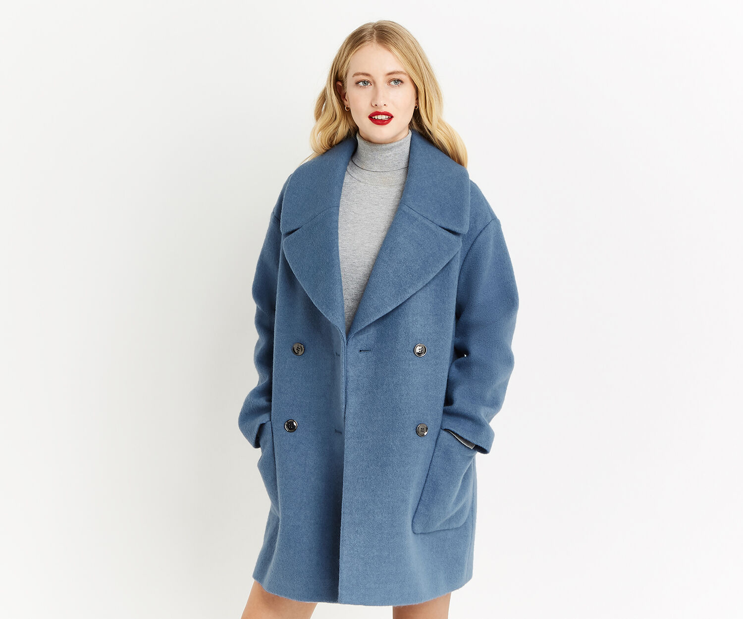 Oasis, DOUBLE BREASTED RELAXED COAT Mid Blue 1