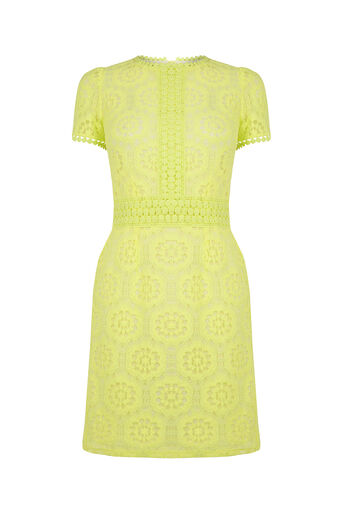 Oasis, Isla Lace Dress Bright Yellow 0