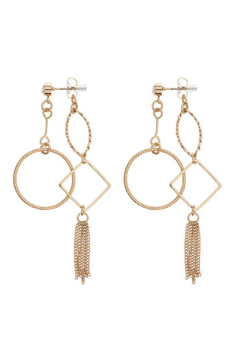 Oasis, FRONT TO BACK DROP EARRINGS Gold 0