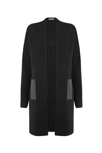 Oasis, Manteau style cardigan avec poches en polyuréthane Noir 0