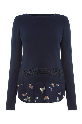 Oasis, Forest Bird & Lace Top Navy 0