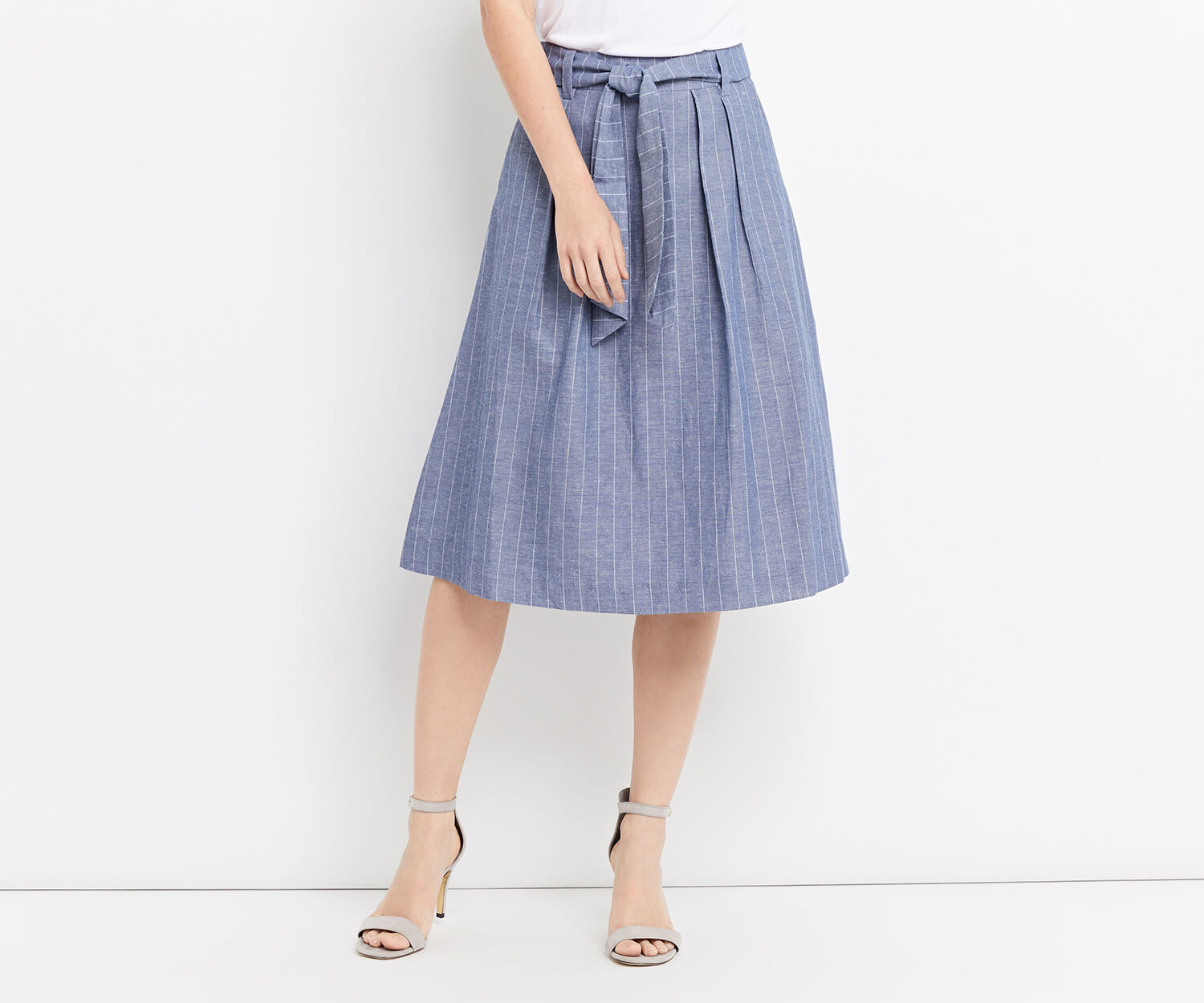 Oasis, STRIPE MIDI SKIRT Multi 1