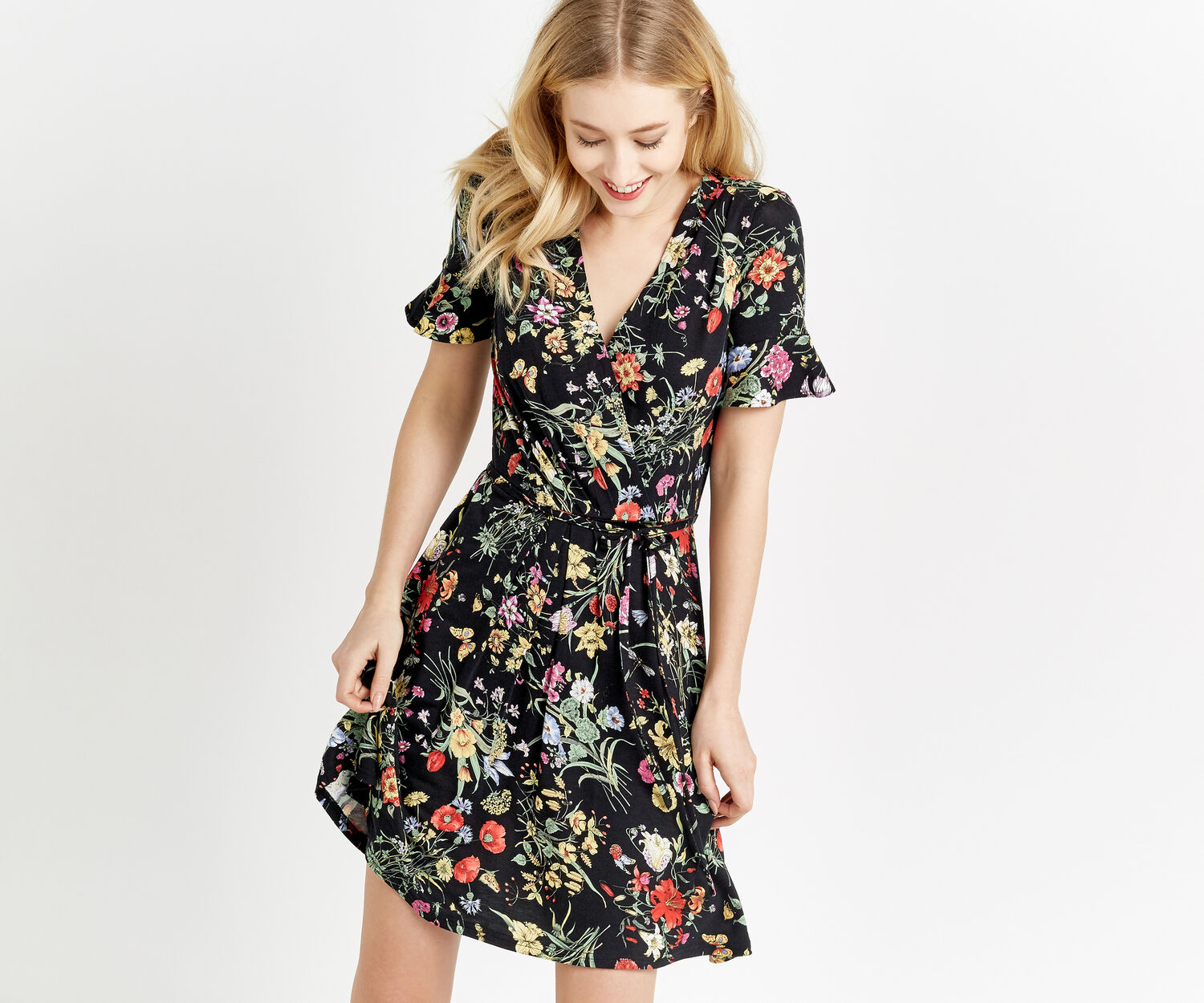 Oasis, SPRING BOUQUET WRAP DRESS Multi Black 1