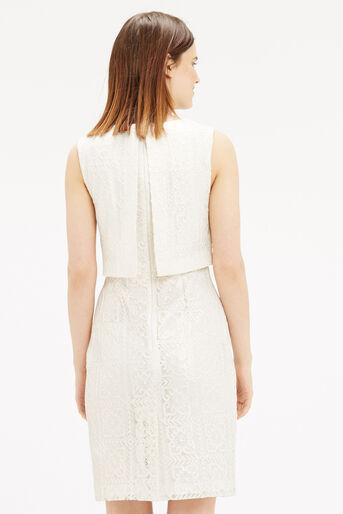 Oasis, Metallic Lace Shift Dress Off White 3