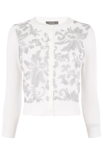 Oasis, SEQUIN WOVEN CARDI Off White 0